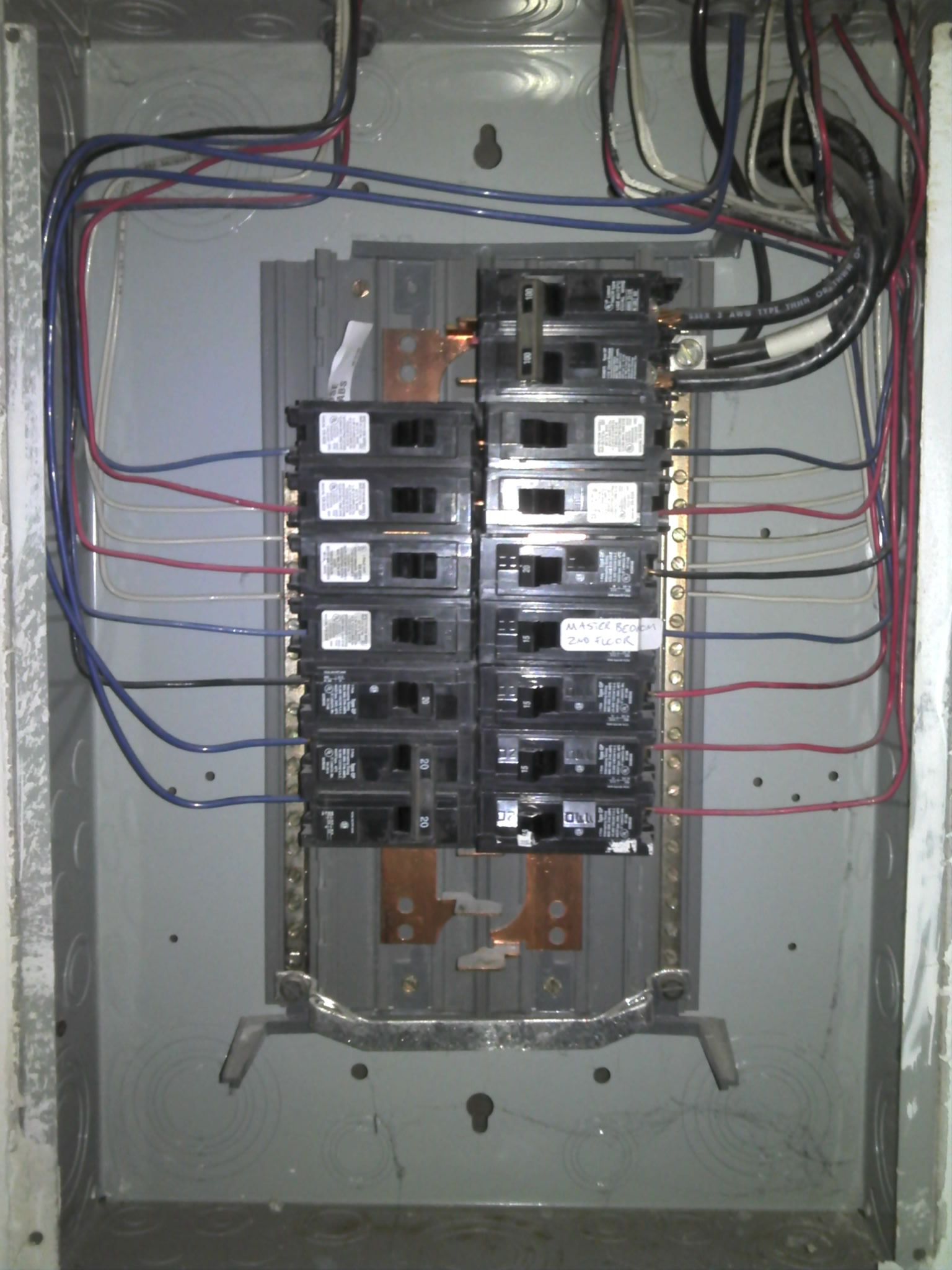 blue wires are a no no in a panel