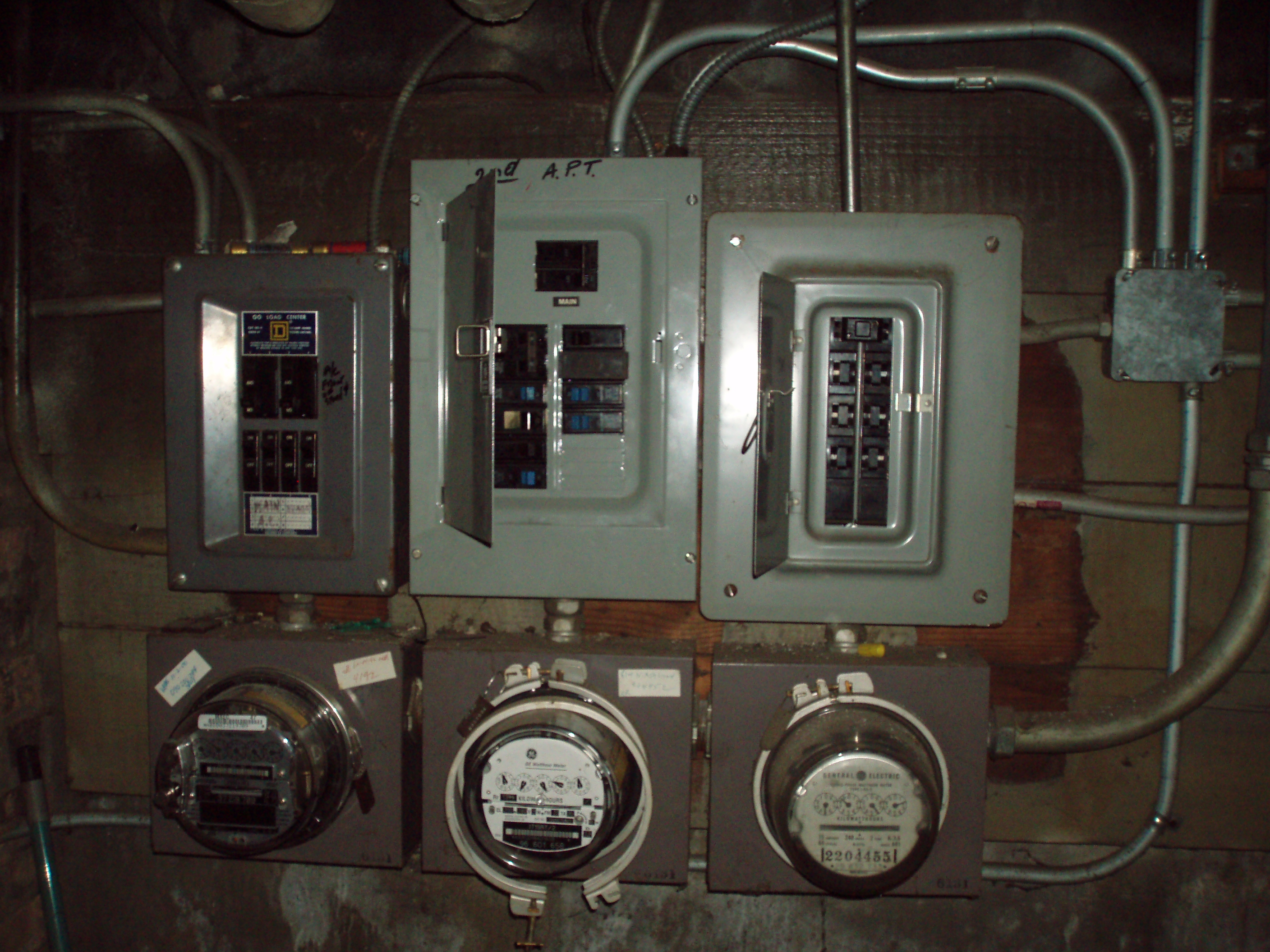 old meters and panels - before